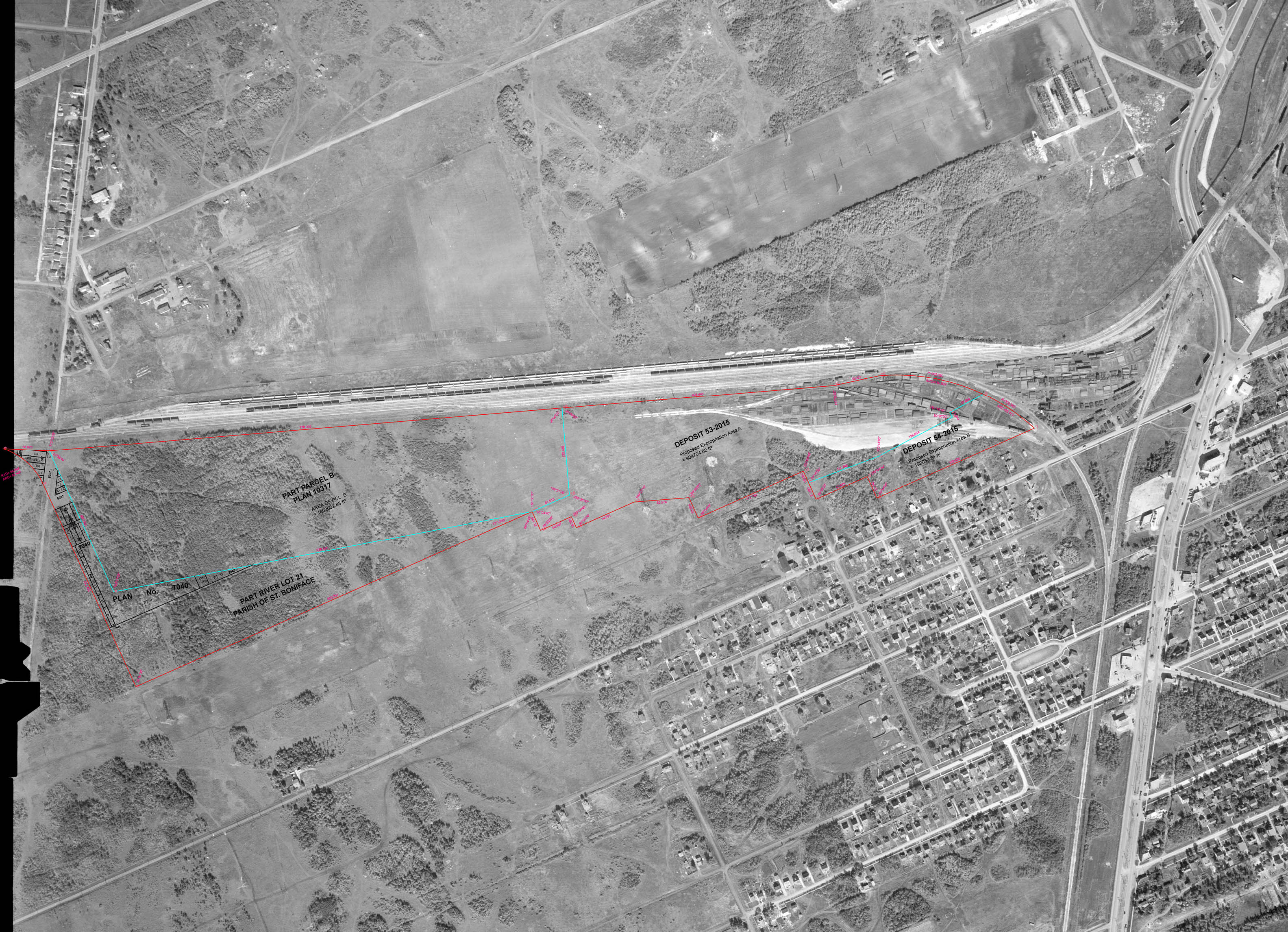 1950 Aerial Photo from National Earth Observation Data Framework, Govt. of Canada